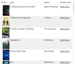 Reading list screenshot